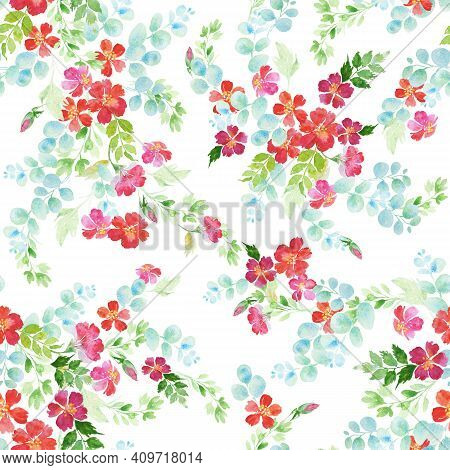 Delicate Romantic Seamless Watercolor Floral Pattern With Hand Drawn Field Wild Flowers