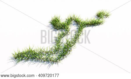 Concept or conceptual green summer lawn grass symbol shape isolated white background, sign of a volleyball player. 3d illustration metaphor for sport, competition training,  relaxation, family and fun