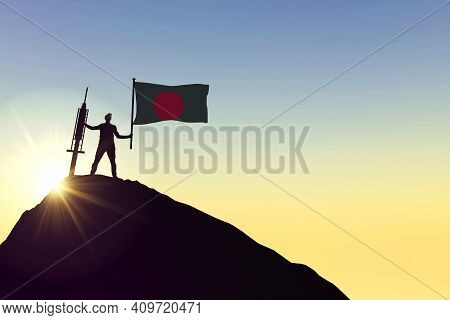 Bangladesh Vaccine. Silhouette Of Person With Flag And Syringe. 3d Rendering