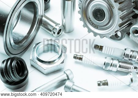 Car Engine Parts. Auto Motor Mechanic Spare Or Automotive Piece On White Background. Set Of New Meta