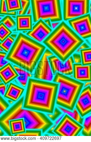 Abstract Geometric Colorful Chaotic Square Frame Pattern