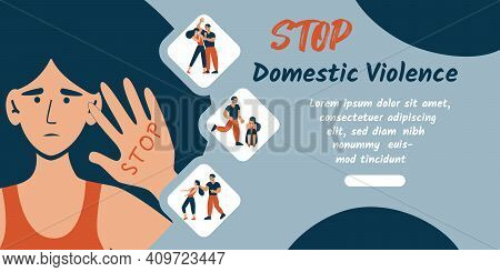 Stop Domestic Violence Banner. Social Issues, Abuse And Agression On Women, Harassment And Bullying.
