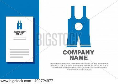 Blue Wrestling Singlet Icon Isolated On White Background. Wrestling Tricot. Logo Design Template Ele