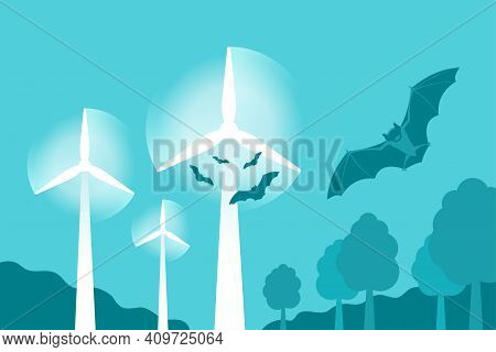 Bats Attracted To Wind Turbines, A Monitoring Of Animals Killing By Rotated Blades. Vector Illustrat