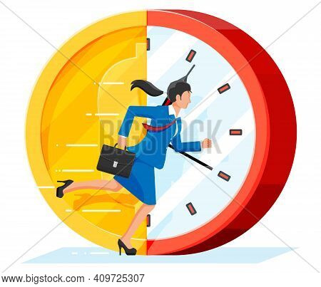 Businesswoman Is Running On Dollar Coin Clock. Clock And Golden Coin. Annual Revenue, Financial Inve