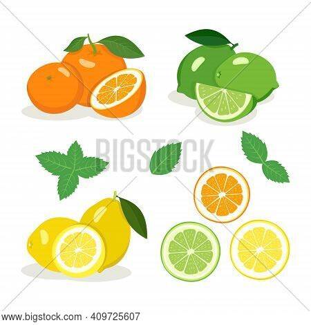 Citrus Fruits Set. Bright Yellow Lemon, Green Lime And Orange Orange With Halves And Wedges, Mint Le