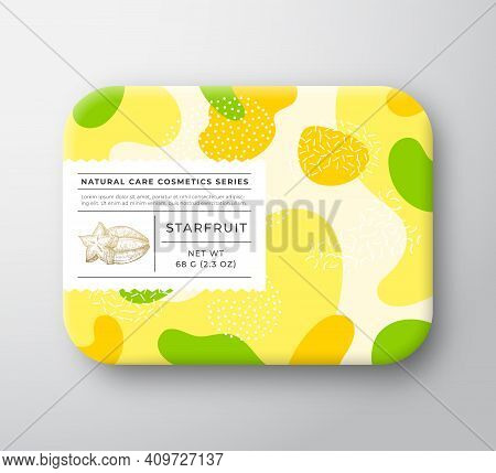 Fruits Bath Cosmetics Box. Vector Wrapped Paper Container With Care Label Cover. Packaging Design. M