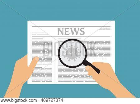 Flat Design Illustration Of A Man Or Woman's Hand Holding A Newspaper With An Article About Covid-19