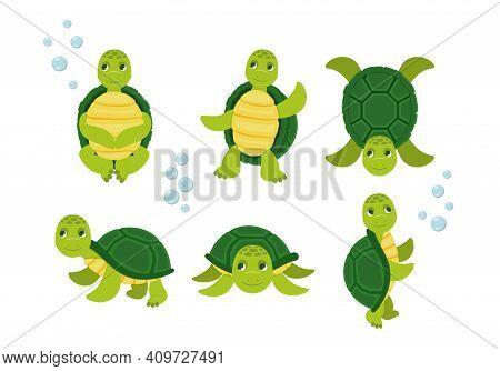 Cartoon Set Of Cute Turtle. Turtle Happy Animal, Tortoise Cute And Cheerful. Vector Illustration