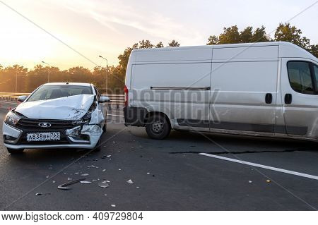 Samara, Russia - September 29, 2020: Car Crash Accident On The Highway, Damaged Automobiles After Co