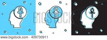 Set Cross Ankh Icon Isolated On Blue And White, Black Background. Vector