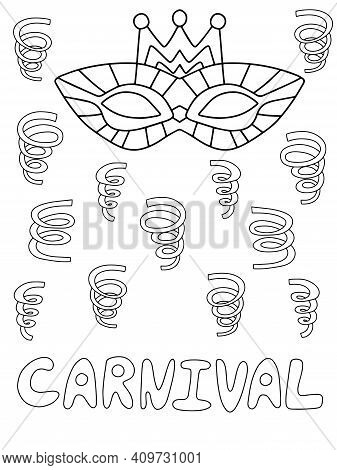 Carnival Poster With Venetian Mask And Serpentines Stock Vector Illustration. Funny Festival Element