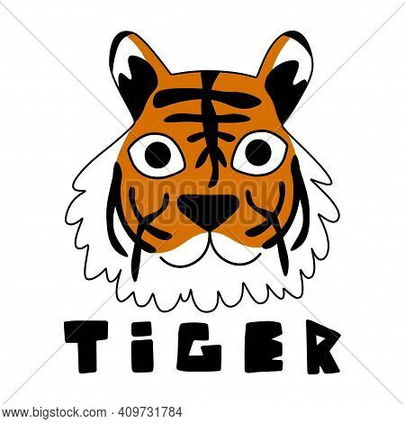 Friendly Cartoon Tiger Stock Vector Illustration. Wild Animal Childish Print For T-shirts, Posters,