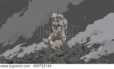 Woman In A Biohazard Suit Holding A Fire Bow, Vector Illustration