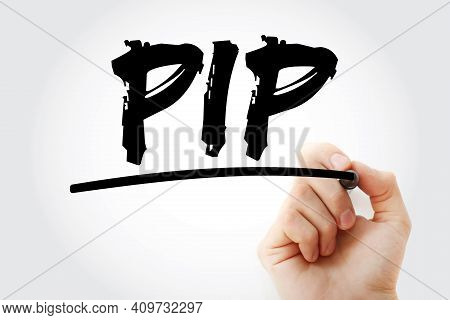 Pip - Percentage In Point Acronym With Marker, Business Concept Background