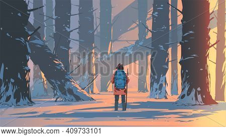 Man Traveling In A Snowy Forest, Vector Illustration