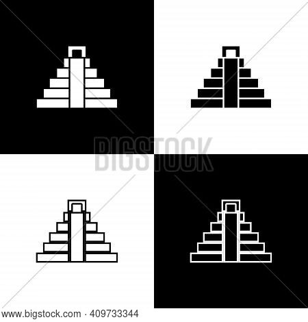 Set Chichen Itza In Mayan Icon Isolated On Black And White Background. Ancient Mayan Pyramid. Famous