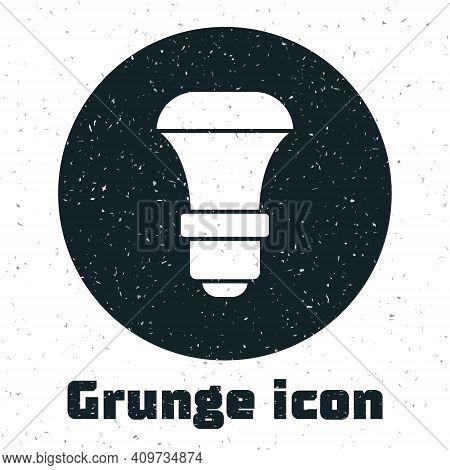 Grunge Led Light Bulb Icon Isolated On White Background. Economical Led Illuminated Lightbulb. Save