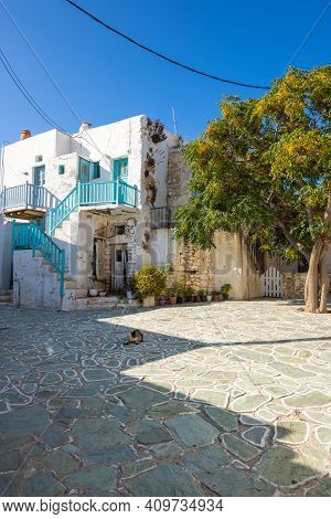 Square In Castro (kastro), The Oldest Part Of The Chora Town On Folegandros Island. Cyclades, Greece