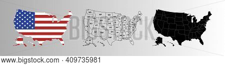 Usa Map Icon Symbol. United State Of America Continent Map With States. Usa Line Template. Stock Vec
