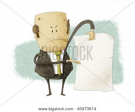 boss holding empty write paper