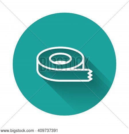 White Line Scotch Tape Icon Isolated With Long Shadow Background. Insulating Tape. Green Circle Butt