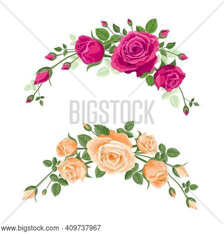 Set Of Garlands Of Roses. Vector Flower Decoration For Anniversary, Cards, Greetings. Valentines Day