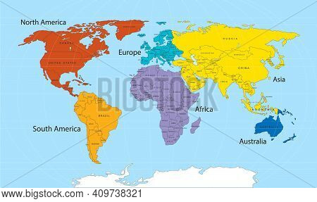 World Map Divided Into Six Continents In Different Color. World Map 6 Continents Concept. Vector Sto