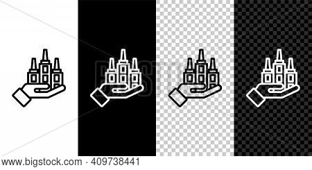 Set Line Skyscraper Icon Isolated On Black And White, Transparent Background. Metropolis Architectur