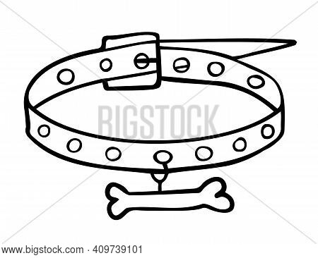 Doodle Drawing Of A Dog Collar With A Bone. Isolated Contour Objects On A White Background.