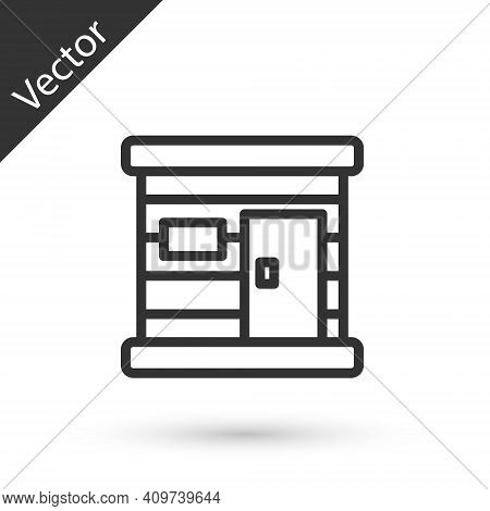 Grey Line Sauna Wooden Bathhouse Icon Isolated On White Background. Heat Spa Relaxation Therapy Bath