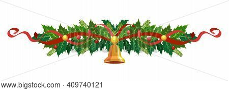Christmas Holly Garland. Vector Frame, Border, Decoration For Holiday Cards, Invitations, Banners. H