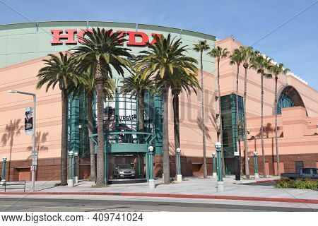 ANAHEIM, CA, MARCH 17, 2017: The Honda Center in Anaheim, California. The arena is home to the Anaheim Ducks of the National Hockey League and the Los Angeles Kiss of the Arena Football League.
