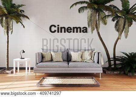 Elegant Living Room Interior With Vintage Sofa Between Large Palm Trees; Cinema Lettering; Travel Co
