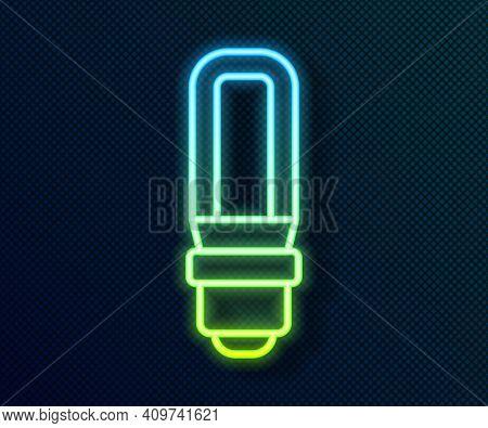Glowing Neon Line Led Light Bulb Icon Isolated On Black Background. Economical Led Illuminated Light