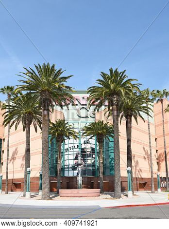 The Honda Center in Anaheim, California. The arena is home to the Anaheim Ducks of the National Hockey League and the Los Angeles Kiss of the Arena Football League.
