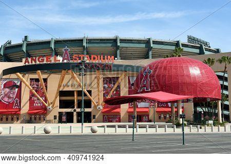 ANAHEIM, CA - FEBRUARY 24, 2017: Angel Stadium of Anaheim Home Plate entrance, the Major League Baseball (MLB) home field of the Los Angeles Angels of Anaheim.