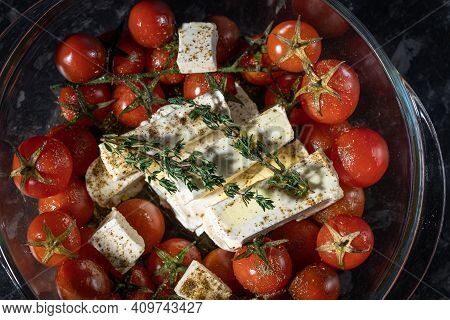 Homemade Feta Pasta, Oven Baked Cherry Tomatoes And Feta Cheese With Olive Oil, Garlic And Thyme, Pr