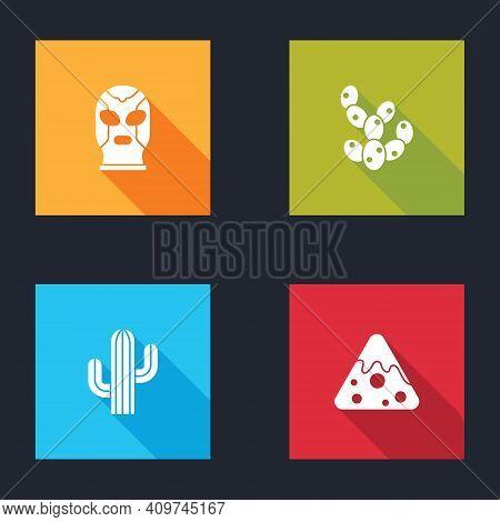 Set Mexican Wrestler, Cactus, And Nachos Icon. Vector