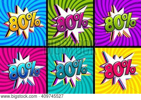 Comic Text 80 Percent Quality Set. Colored Speech Bubble On Radial Background. Comics Book Explosion