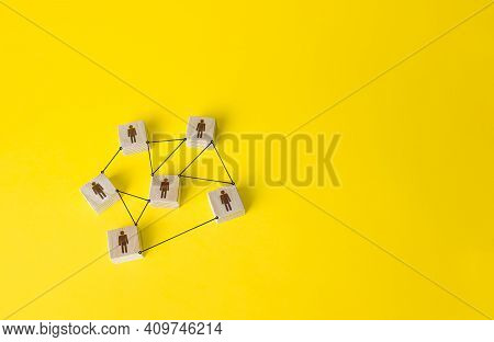 Connected People Figures Form A Working Team Network. Cooperation And Division Of Responsibilities A