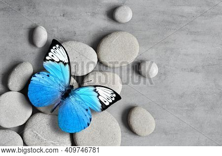 Flat Lay Composition With Grey Spa Stones And Butterfly On Grey Background.