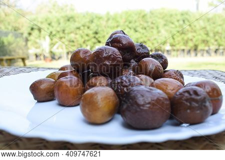 Indian Jujube Or Ber Or Berry Also Known As Ziziphus Maritiana Fully Ripen Fruit Orange Or Brown Col
