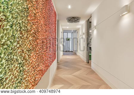 A Long Empty Corridor, Designed In Luxury Style. Beautiful Hallway With Multicolored Walls