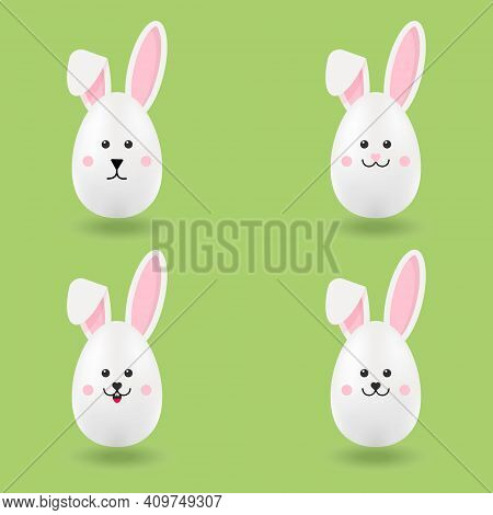 A Set Of Easter Eggs In Bunny Ears. Cute Easter Bunny . Vector Illustration.