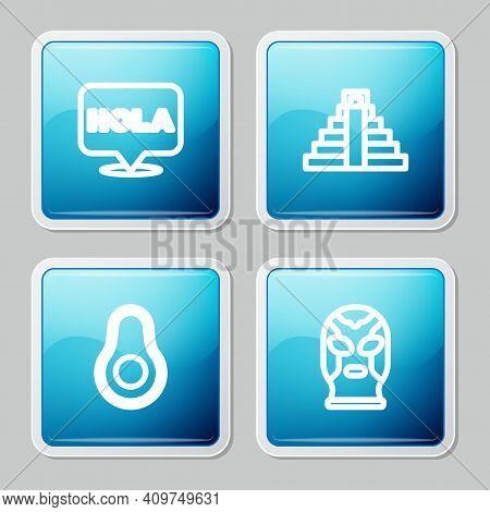 Set Line Hola, Chichen Itza In Mayan, Avocado Fruit And Mexican Wrestler Icon. Vector