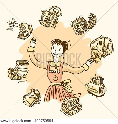 Woman With Kitchen Equipment And Appliances Hand Drawn Vector Illustration
