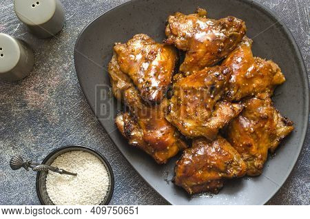 Baked Chicken Wings In Honey And Soy Sauce Glaze