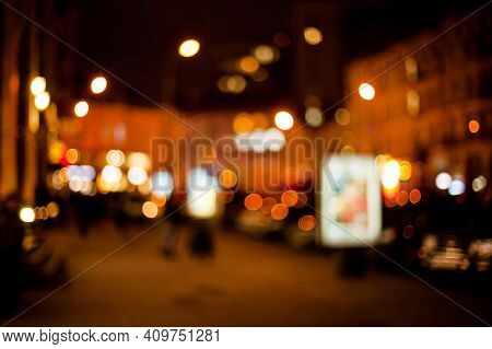 Blurred Lights Background. De Focused, Blur Image Of City At Night.blurred Urban Abstract Traffic Ba