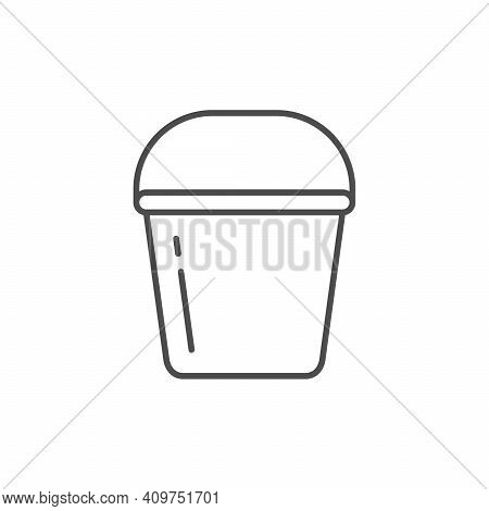 Bucket Or Pail Line Outline Icon Isolated On White. Vector Illustration